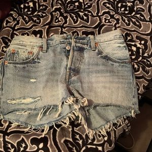 Levi's button up denim shorts